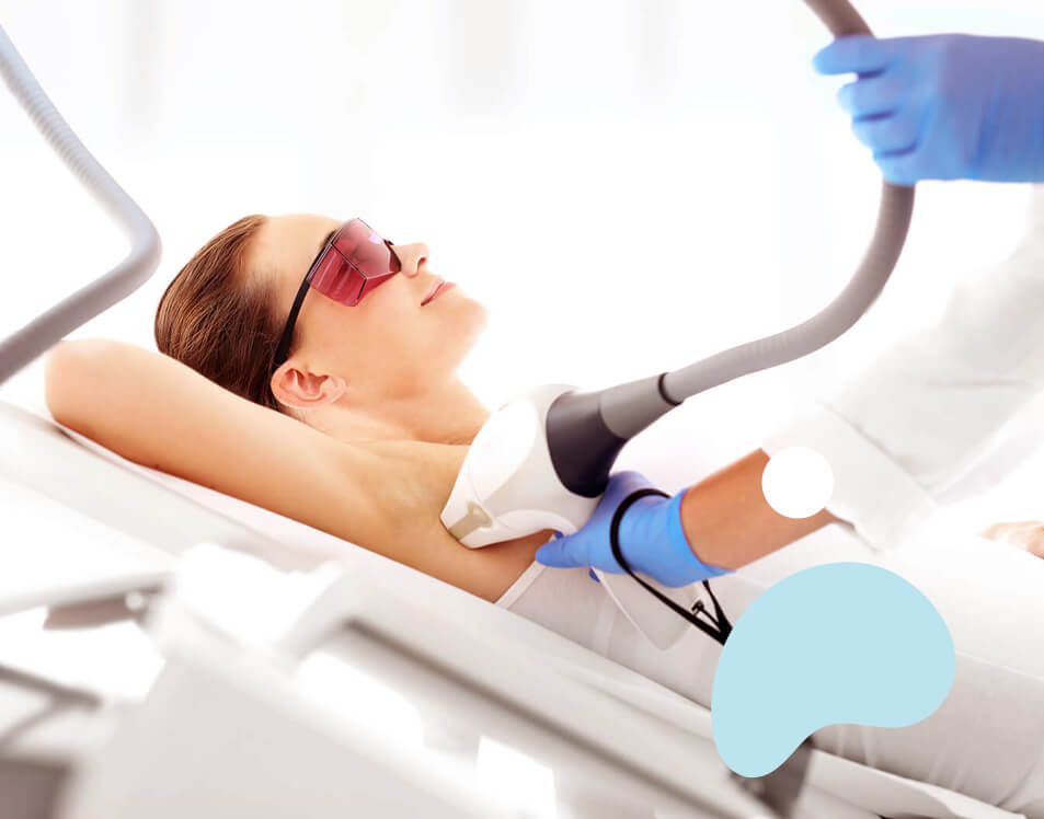 woman's underarms undergoing hair removal procedures, laser hair removal procedure