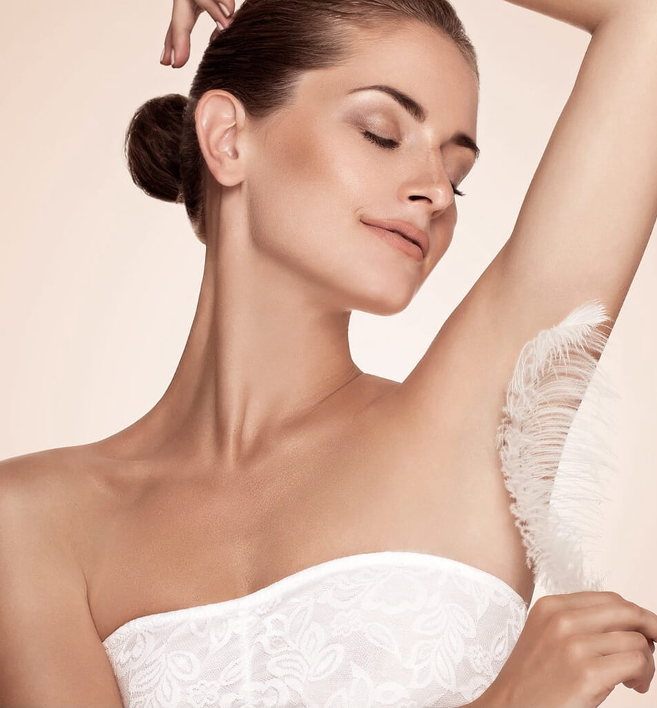 woman's clear underarms, smooth underarms