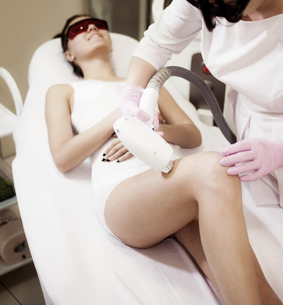 woman undergoing hair removal procedures, laser hair removal